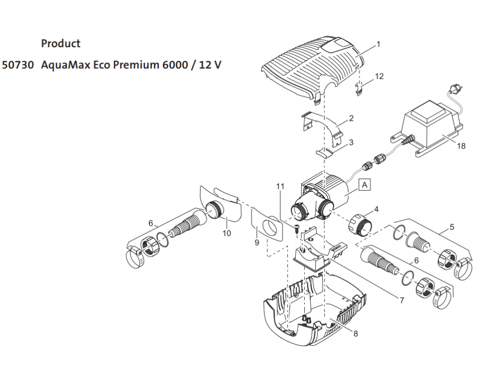 Onderdelen Oase Aquamax Eco Premium 12000 12V