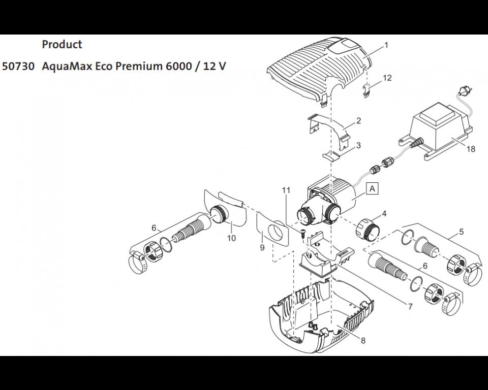 Onderdelen Oase Aquamax Eco Premium 6000 12V