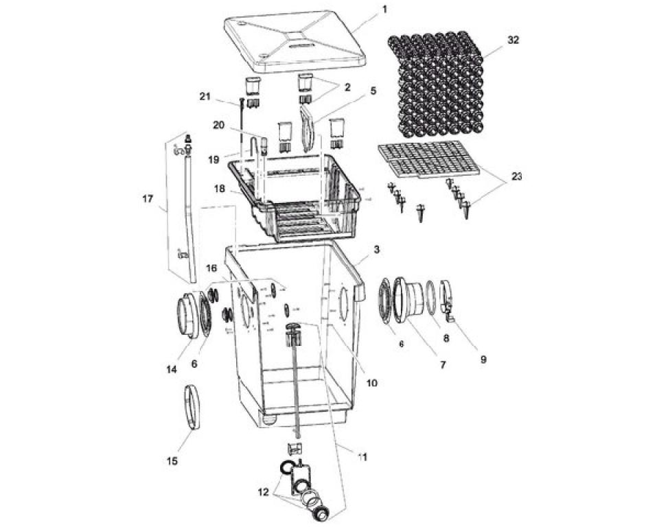 Onderdelen oase proficlear M4 bioballs filtermodule