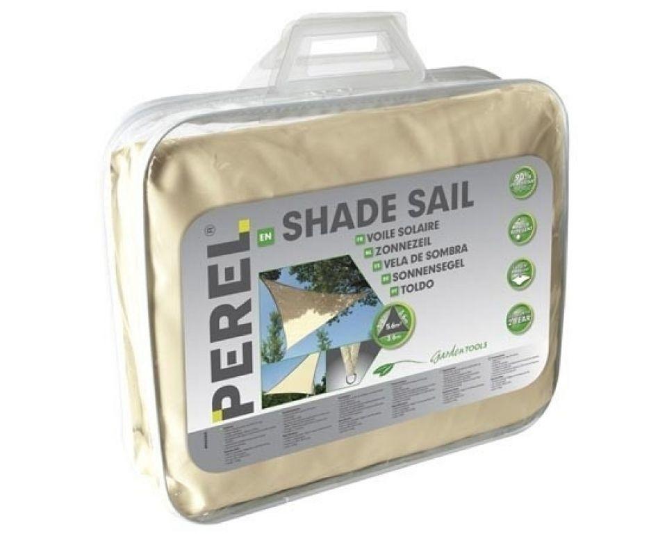 Perel Schaduwdoek Crème | Driehoekig Zonnezeil | 5 x 5 x 5 Meter