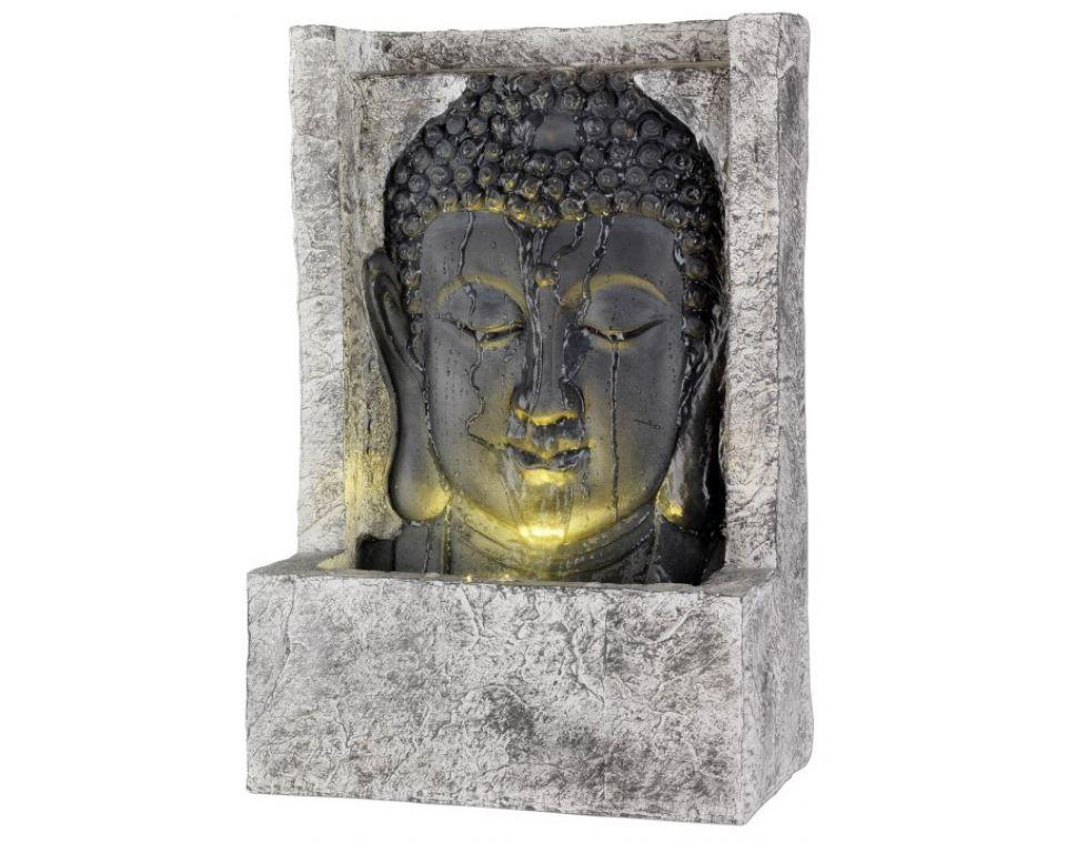 Waterornament Boeddha Recht Grijs met Verlichting