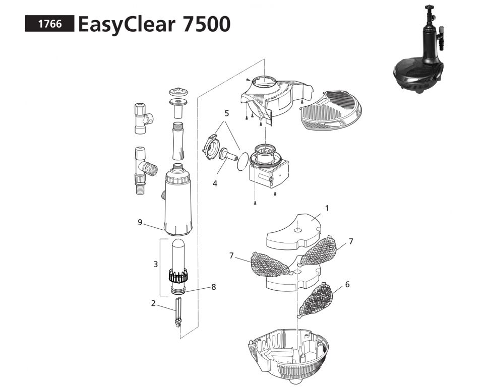 Onderdelen Hozelock Easyclear 7500