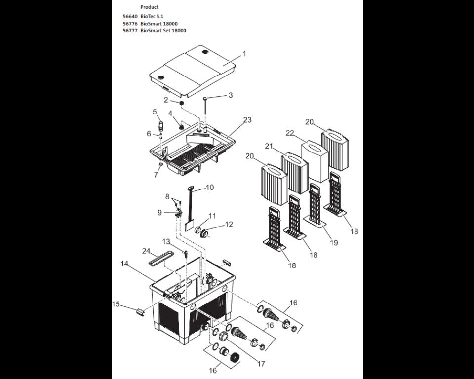 Onderdelen oase biotec 5.1