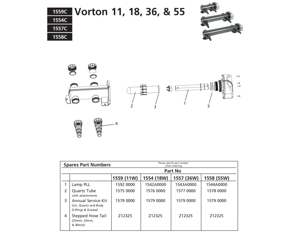 Onderdelen Hozelock Vorton - 11 & 18 & 36 & 55